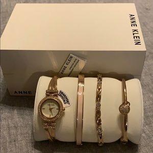 Anne Klein gold and pink watch set